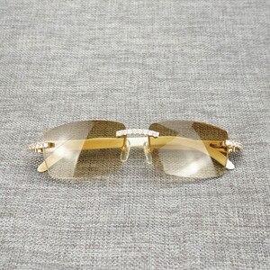 Image 3 - ラインストーン黒白水牛ホーンリムレスサングラス男性天然木サングラスレトロシェード Oculos 眼鏡クラブ夏