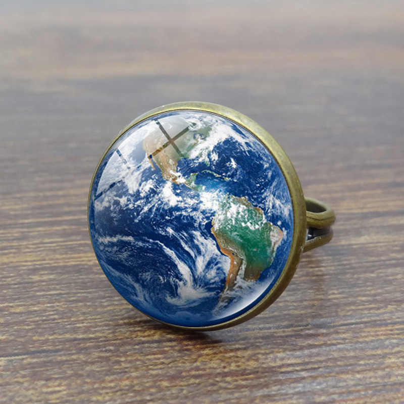 Universe Solar System Planet Glass Cabochon Ring Galaxy Earth Mars Saturn Neptune Art Picture Crystal Rings for Women