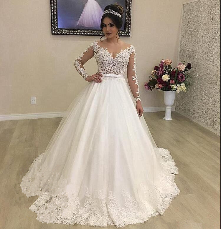 Robe de mariée à manches longues en dentelle à encolure dégagée robe de mariée longue en Tulle vestido de noiva une ligne robe de bal sur mesure 2019