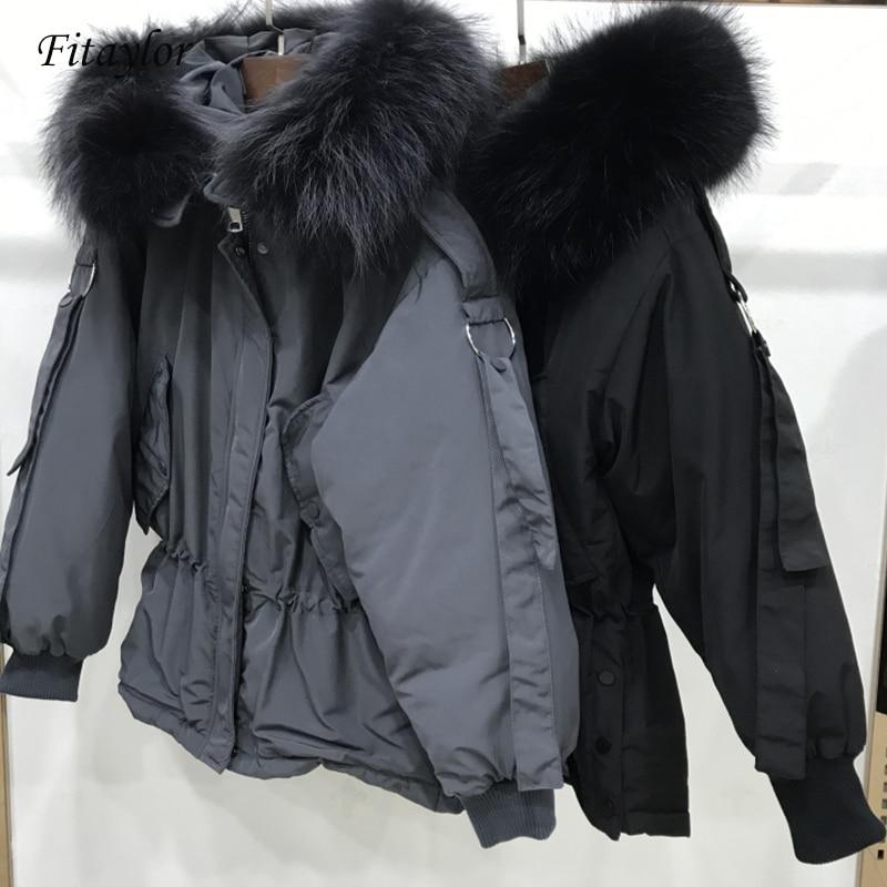 Fitaylor Large Real Raccoon Fur 2019 Women Winter Jacket Hooded Warm Female White Duck Down Jacket Medium Long Parkas Loose Coat