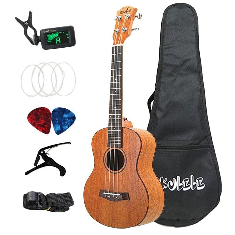Ensemble de ukulélé de ABUO-26 pouces 19 frette ténor acajou bois ukulélé Hawaii 4 cordes Mini guitare chevilles en métal