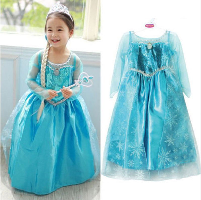 New Blue Baby Girls Kids Frozen Costume Dress Snow Princess Queen Dress Up Children's Party Gown Cosplay Tulle Dress 3-8Y