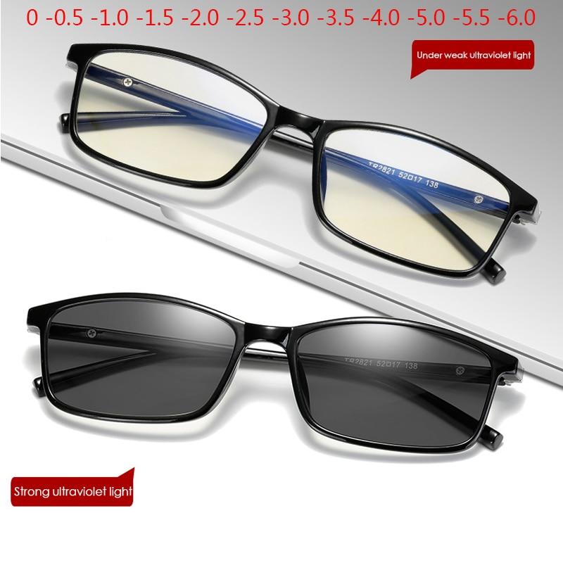 Armação fina mudança de cor óculos photochromic mulher homem prescrição 0 -0.5 -1.0 -1.5 -2.0 -2.5 -3.0-6.0 para-