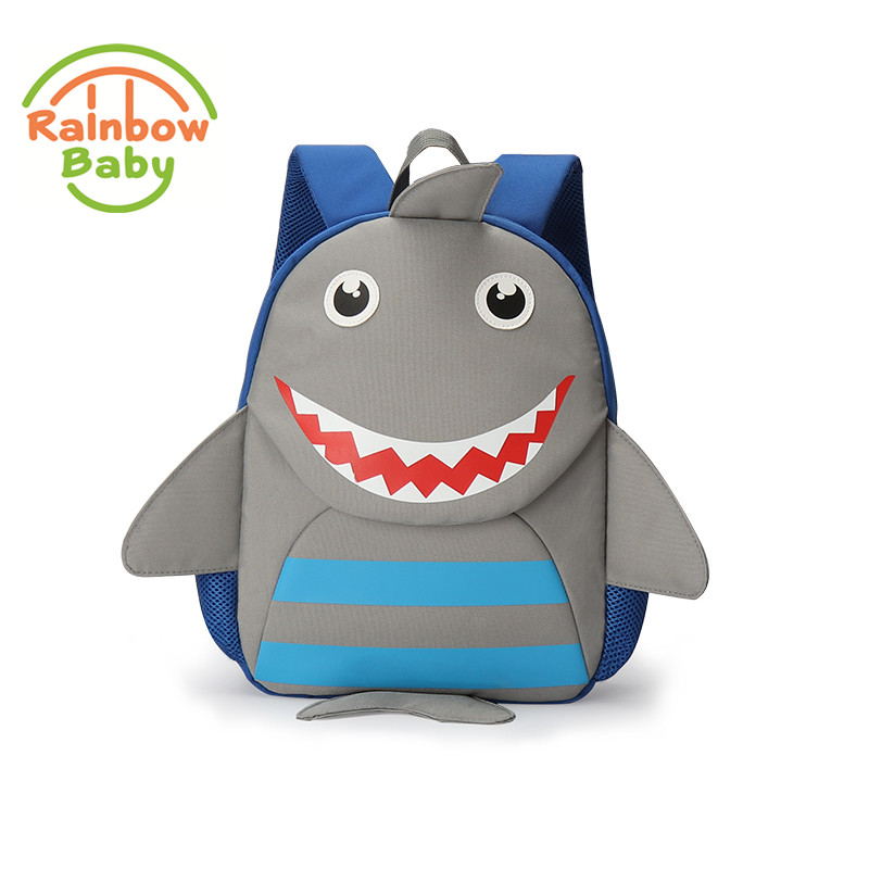 Rainbow Baby Cute Shark Bagpack Ultra-Light Kids & Babys Bags Wearable School Bags Non-Polluting Boys Bagpack Lovely Backpack