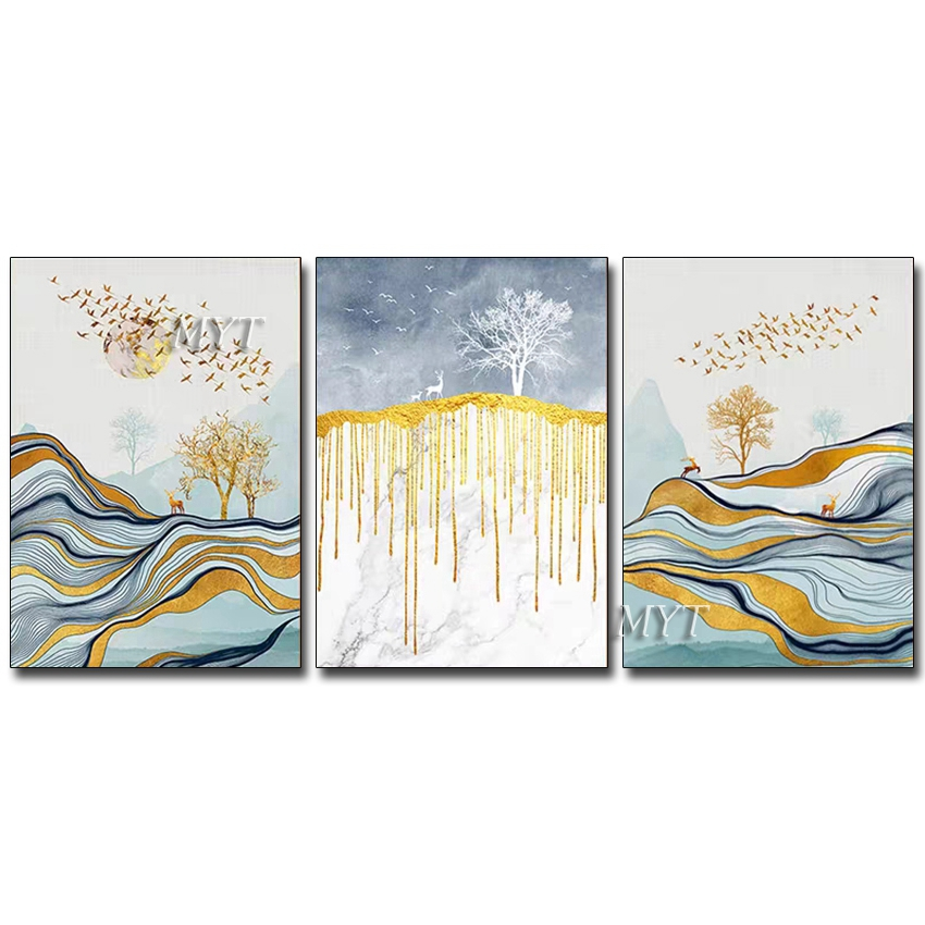 3 Pieces Abstract Newest Gold Foil Oil Painting Wall Art Canvas 100% Hand Painted 3 Pieces Paintings Artwork Decor For Home Wall