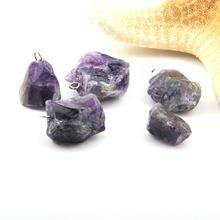 Natural Stone Pendants Fashion Jewelry Accessory Purple Crystal Irregular Pendant DIY for Necklace Making