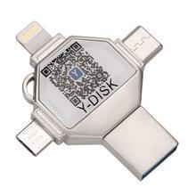 4 в 1 OTG Usb флэш накопитель для iPhone Pendrive 32 Гб USB 3,0 карта памяти Внешняя память для iOS/Android/Type C/Windows устройства