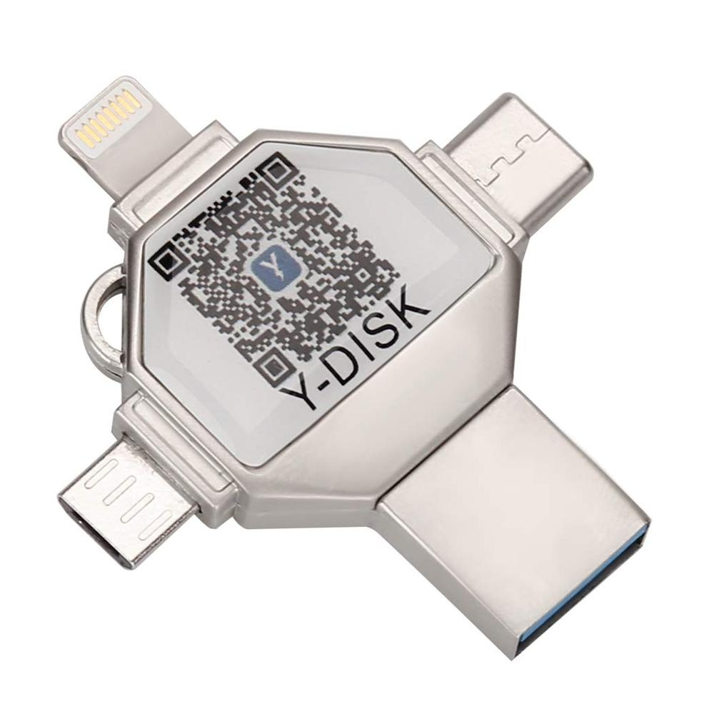 4 In 1 OTG Usb Flash Drive For IPhone Pendrive 32GB USB 3.0 Memory Stick External Storage For IOS/Android/Type C/Windows Device
