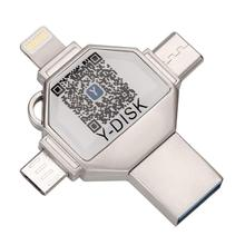 Armazenamento externo da vara da memória, 4 em 1 otg usb flash drive para iphone pendrive 32gb usb 3.0 para ios/android/tipo c/windows dispositivo