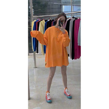 Orange Sanitary  with Loose Middle and Long Sleeves Round Collar for Women In Autumn Thin 2019 Sweatshirt