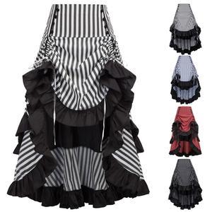 Image 5 - Belle Poque Retro Women Vintage Stripe Gathered Steampunk Gothic Punk Bustle Irregular high low Skirt Fashion midi Skirt Elastic
