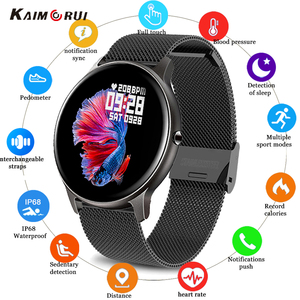 Image 1 - Kaimorui KW19 femmes montre intelligente moniteur de fréquence cardiaque pression artérielle Sport Smartwatch hommes Fitness Tracker connecter Xiaomi Android IO