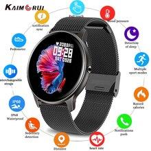 Kaimorui LW02 똑똑한 시계 1.4 인치 가득 차있는 접촉 스크린 남자의 손목 시계 방수 심박수 여자 안드로이드 ios를위한 Smartwatch