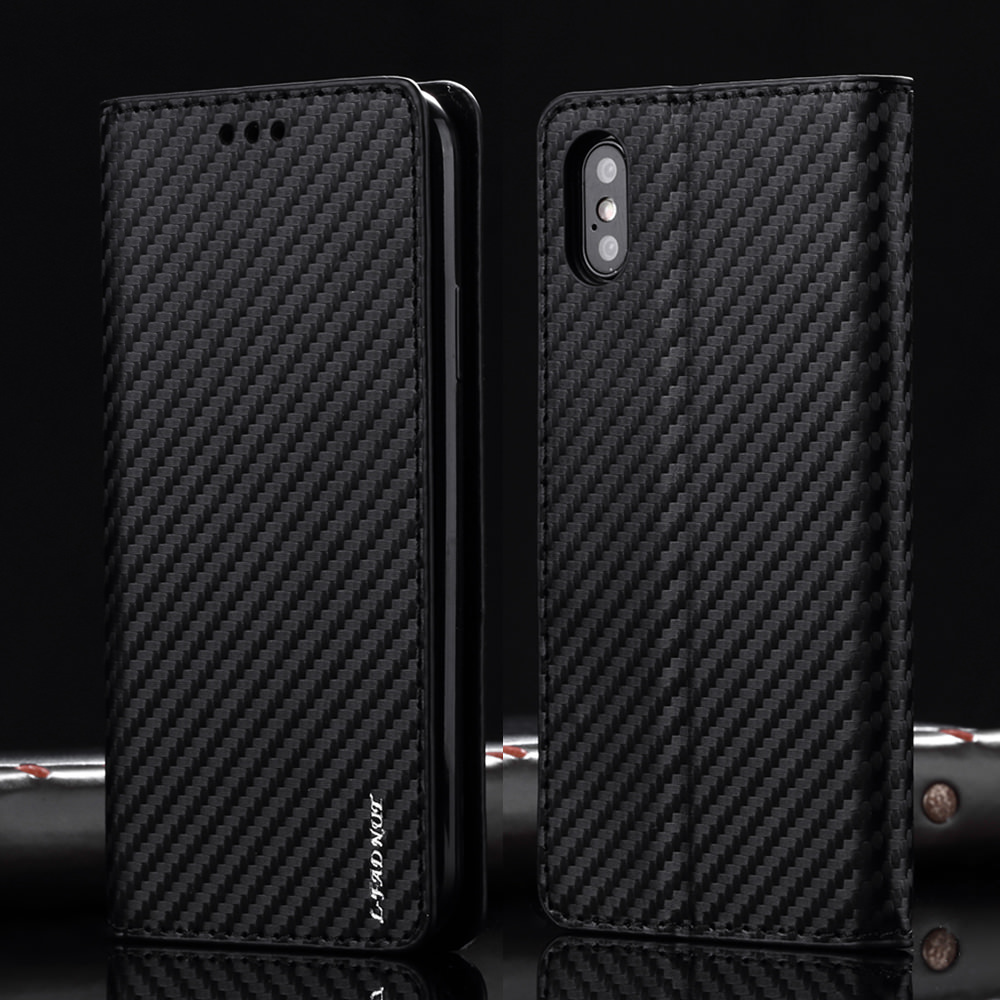 L-FADNUT Carbon Fiber Flip <font><b>Leather</b></font> Case For <font><b>iPhone</b></font> 7 8 <font><b>6</b></font> 6S Plus 5 5S SE Card Slot Wallet <font><b>Cover</b></font> For <font><b>iPhone</b></font> Xr X Xs 11 Pro Max image