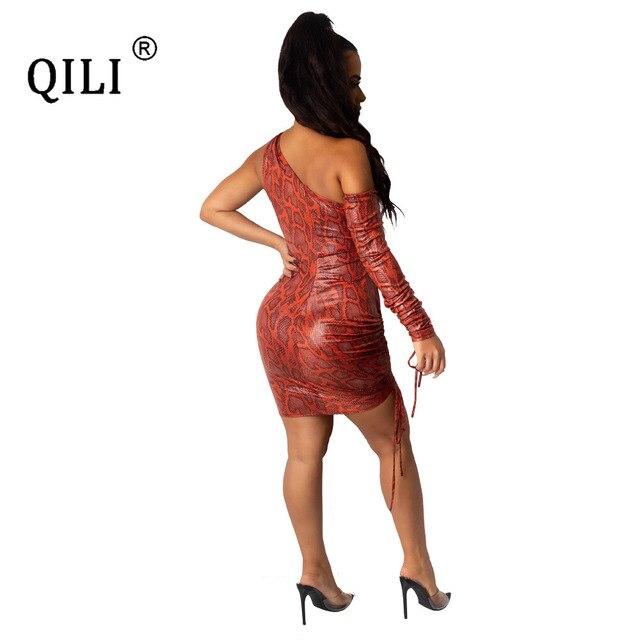 Фото qili женское платье на одно плечо сексуальное мини с вырезами