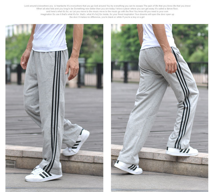 Spring And Autumn Medium Thick Plus-sized Casual Pants Fashion Men's Trousers Large Size Straight-Cut Sweatpants Youth Long Pant