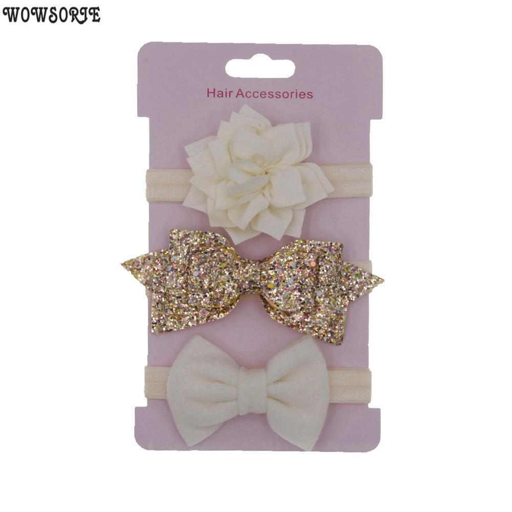 Baby Headband Flower Headbands Hair Band Sequin Bowknot Lovely Headwear Children Kids Princess Girls Hair Accessories 3pcs/lot