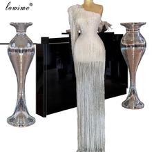 Muzułmańskie jedno ramię frędzle sukienka koktajlowa 2020 Mermaid suknia wieczorowa długie вечернее плацие czerwony dywan suknie sukienki koktajlowe tanie tanio Lowime One-shoulder Poliester spandex Pełna Długość podłogi Celebrity sukienki vintage LWCD27 Tulle Trąbka mermaid