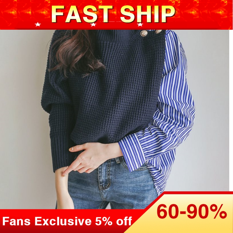 Women Turtleneck Chunky Oversized Sweater Korean Patchwork Knit Sweaters Pullover And Jumper 2019 Autumn Winter Knitted Top