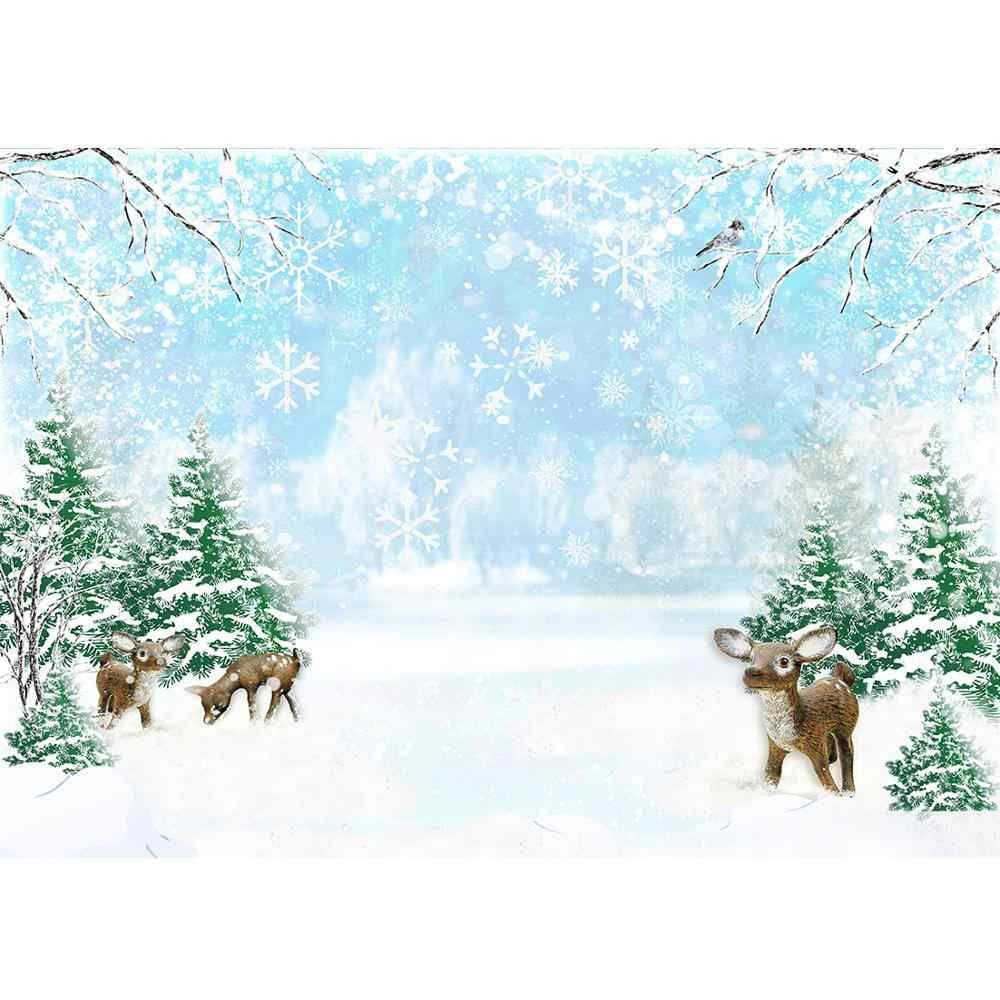 Christmas Trees Snowflake Deer Photography Backdrop Computer Printed Backgrounds for Children Baby Family Photoshoot Photophone