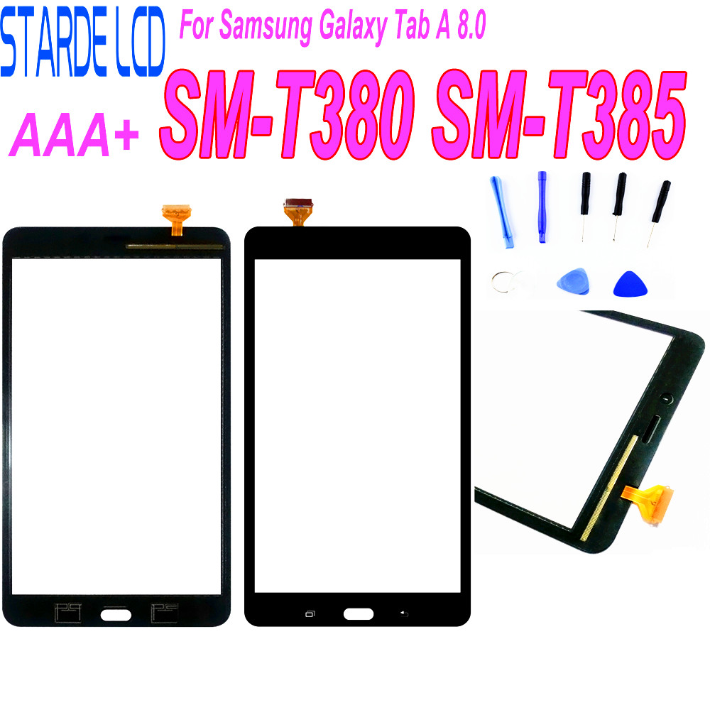 1Pcs For Samsung Galaxy Tab A 8.0 (2017 Version) SM-T380 T385 T380 Touch Screen Digitizer Front Glass Panel Replacement+Adhesive