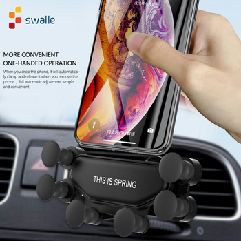 gravity car mount phone holder car phone holder organizer 360 degree gps air vent mount clip car outlet bracket car accessories Swalle newest Gravity Car Holder For Phone in Car Air Vent Clip Mount No Magnetic Mobile Phone Holder GPS Stand For smart phone
