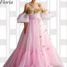 Neue Fee Rosa Lange Abendkleid Lange Off Schulter Blumen Prom Kleid robe de soiree Türkische Couture Frauen Party Vestidos