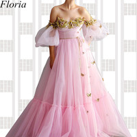 New Fairy Pink Long Evening Dress Long Off Shoulder Flowers Prom Dress robe de soiree Turkish Couture Women Party Vestidos