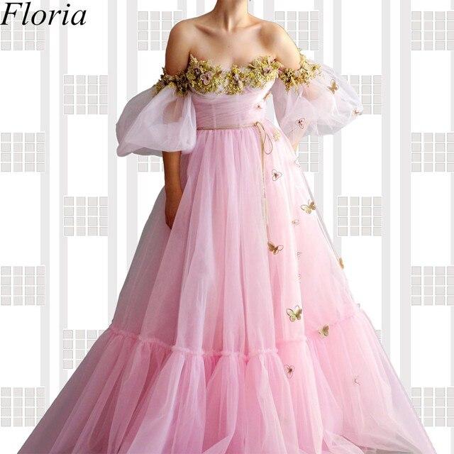 Nuevo vestido de noche largo de hada rosa con hombros descubiertos con flores vestido de graduación bata de soiree costura turca Vestidos de fiesta para mujer