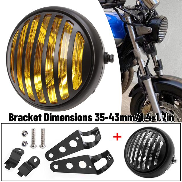 1PC Motorcycle Headlight Black Metal Retro Headlight 35W Front Light 12V Fits for Cafe Racer CG125 GN125