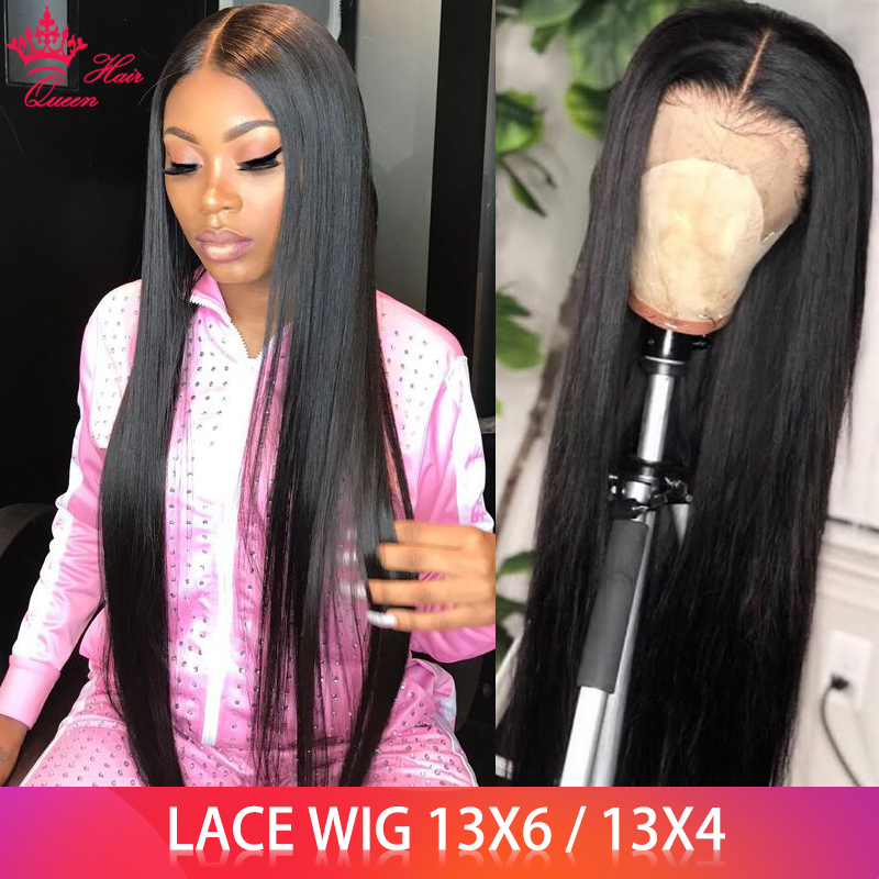Queen Hair Products 13x6 Straight Lace Front Wig Brazilian BIG Lace Frontal Wigs 100% Human Hair Natural Color FAST Shipping