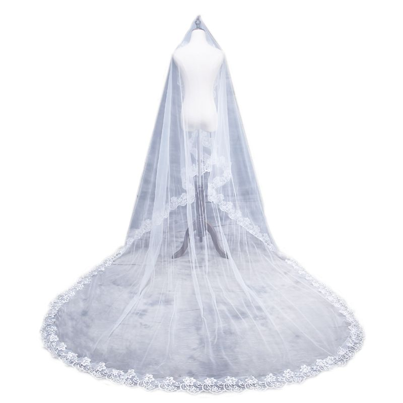 1.5/2/3/5M 1 Layer Women Bridal White Ultra Long Wedding Tulle Veil Wide Embroidered Hexagonal Floral Applique  Without Comb