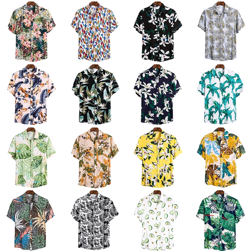 Aoliwen brand Men's Shirt Summer High Quality Breathable Hawaiian Beach Vacation Shirt Color Casual Men's Printing Large Size