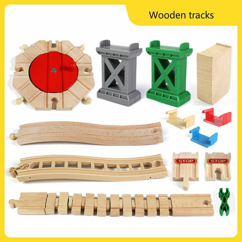 جديد وصول 7 أنماط مسار القطار الخشبي اكسسوارات خشب الزان قطار السكك الحديدية أجزاء مع جميع الماركات ألعاب قطار سباق المسارات
