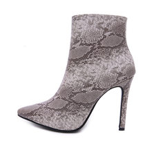 Sexy Women Winter warm snow Boots Snake Platform zipper 10.5CM High Heels pumps dress Ankle Martin Boots shoes Woman boots mujer(China)