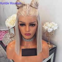 60 asche Blonde Volle Spitze Perücke Bob Seidige Gerade Menschenhaar Perücken Mit Baby Haar Remy Brasilianischen Vor Gezupft Für weiß Frauen 180%