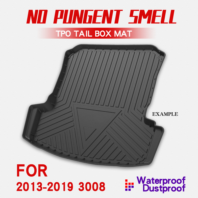 Car Rear Trunk Storage Mat Cargo Tray Trunk Waterproof Protective Pads Mat Compatible For Peugeot 3008 2013-2019