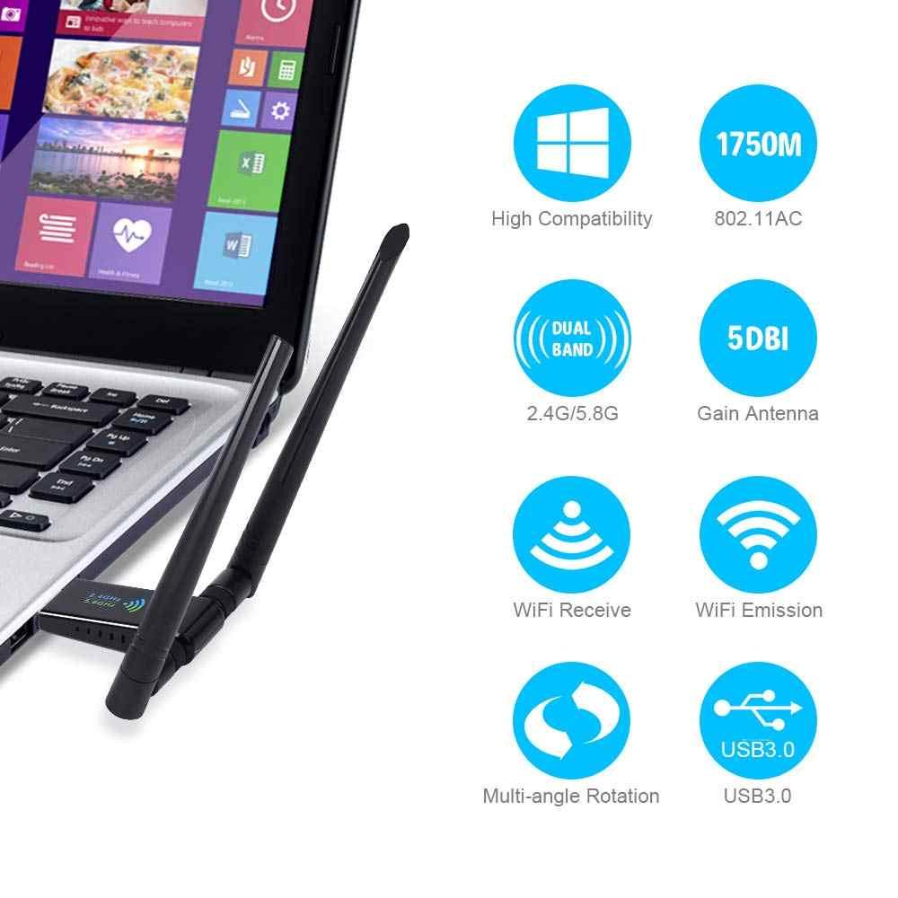 Adaptateur WiFi USB onvienne 1750Mbps 5dBi USB 3.0 carte réseau sans fil Dongle WiFi 2.4 GHz/5.8 GHz récepteur adaptateur Wi-Fi USB