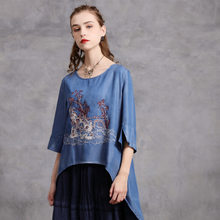 FairyNatural Women Embroidery Retro O Neck Denim Blue T-Shirts 2020 Autumn Spring Irregular Female Chinese Style Shirts Tops(China)