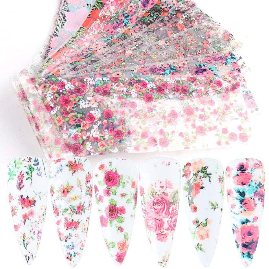 10 шт. наклейки из фольги с розами для ногтей простые Слайдеры для маникюра Звездные бумажные обертки аксессуары для ногтей LA2109