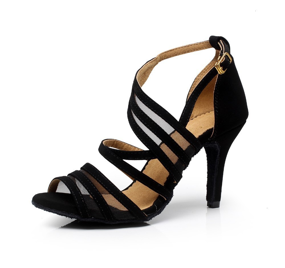 Factory Direct Sale Salsa Jazz Ballroom Latin Dance Shoes For Dancing Women Training Dancers Dances Stylish Heel Black Sandals