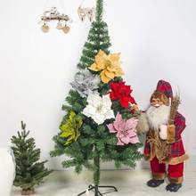 Colorful Christmas Simulation Glitter Flower Artificial Flowers Tree Decoration Party Ornaments