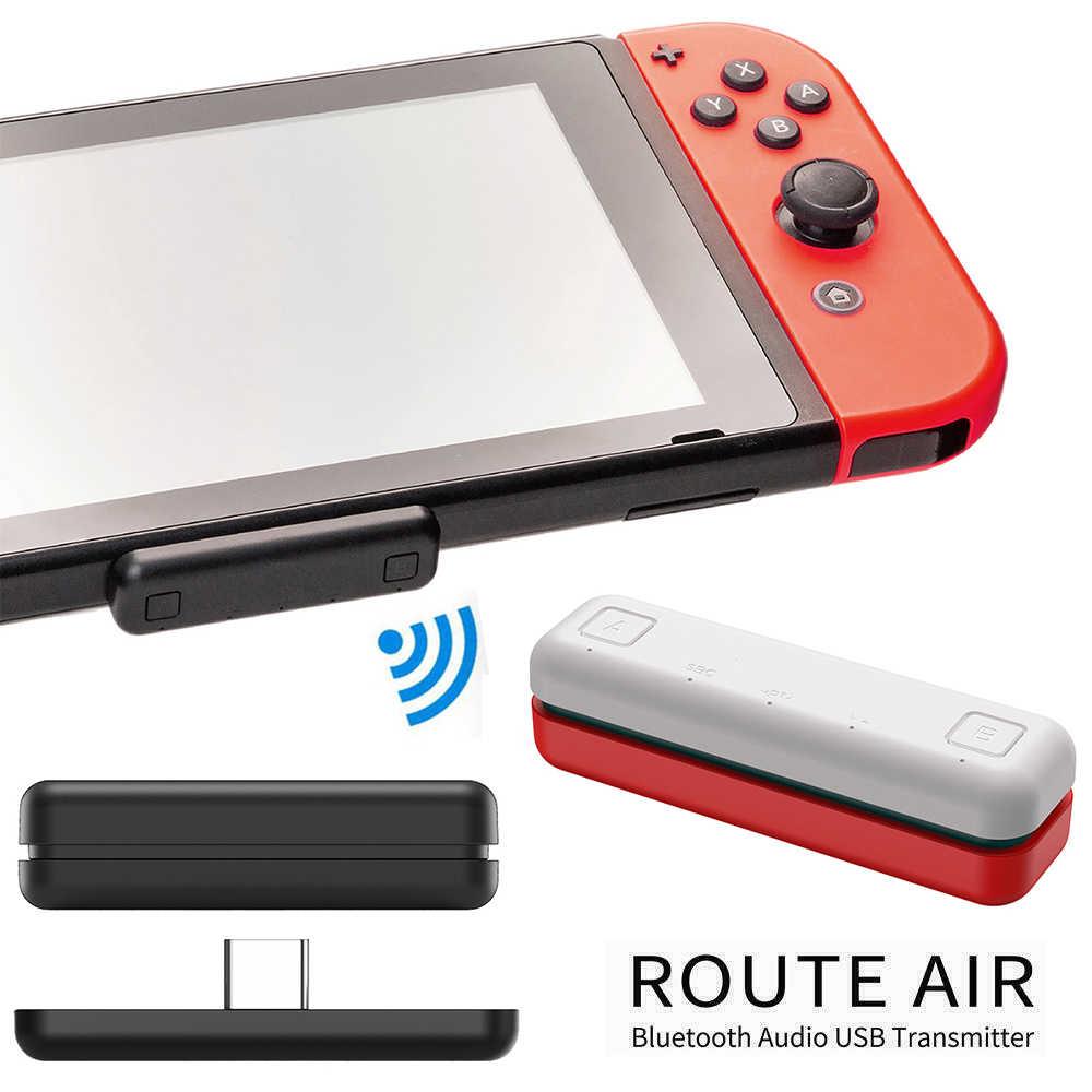 Asli Mini Wireless Earphone Audio Transmitter Bluetooth Adaptor USB Tipe-C Dongle untuk Nintendo Switch Lite PS4 XBOX