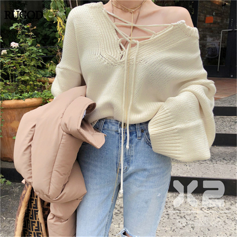 RUGOD Elegant Sexy Lace-up Knitted Sweater Women Fashion Multi Color Loose Pullover Jumper Korean Lady Style Sweaters Winter
