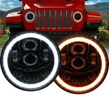 цена на For Jeep Wrangler 7'' Round Led Headlight H4 High Low Beam Running Lights Halo Angle Eyes DRL led Headligh 4x4 Lada Niva suzuki