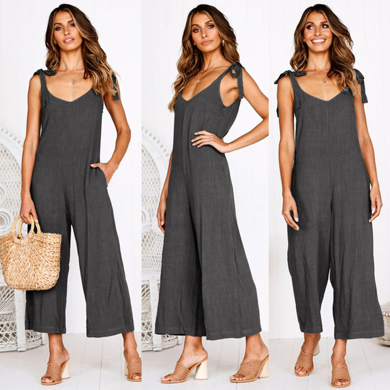 ZOGAA   Jumpsuits   Women 2019 Fashion Solid Open Back   Jumpsuit   Sleeveless V-neck Overalls Casual Wide Leg Pants Off Shoulder Sets