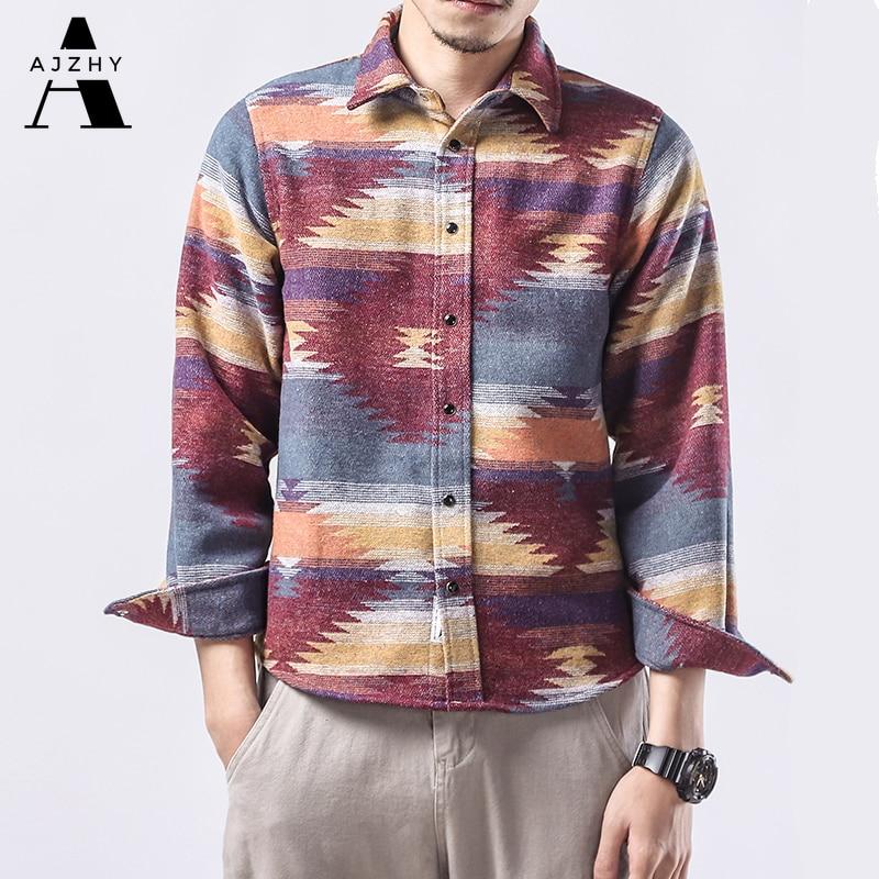 Folk Custom Geometric Autumn Winter Flannel Shirt Men Womens Plaid Streetwear Casual Vintage  Long Sleeve Shirts Dress Clothing