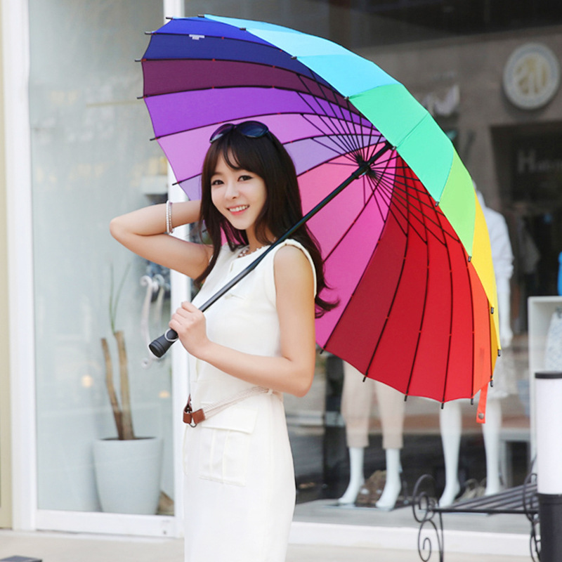 24 Bone Ultra Large Straight Pole Rainbow Umbrella Long Handle Double Color Umbrella Manufacturers Production Processing Customi