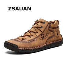 ZSAUAN Plus Size 39-48 Dropshipping Men Sneakers High Top Loafers Leather Casual Winter Shoe Manual Warm Flats Boots Outdoor