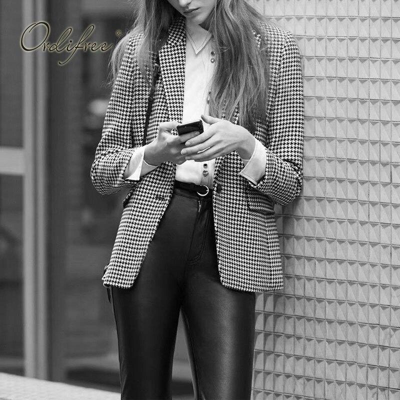 Ordifree 2019 Autumn Winter Women Plaid Blazer And Jackets Work Office Lady SuitOutwear Casual Suit Jacket
